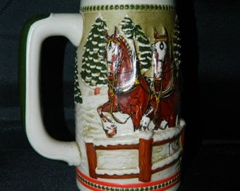 1980's Limited Edition Budweiser Beer Stein, Clydesdale Horses, Winter Sled Scene, Horses, Anheuser Busch Budweiser