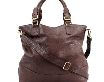Brown Leather Handbag, Tote, Purse