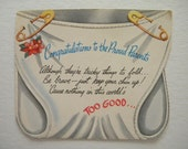 Vintage Unused New Baby Congratulations Card Diaper Pin Up