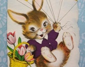 Vintage Unused Birthday Card for Seven Year Old with Bunny