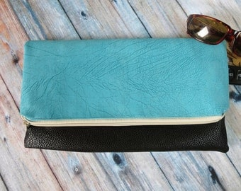 Foldover Clutch - Vegan Leather Foldover Clutch Purse - Black Clutch - Turquoise Clutch - Zippered Clutch - Personalized Clutch