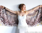Owl wings scarf, bohemian bird feathers shawl, day owl, hand painted, digital print, sarong, perfect Valentine gifts