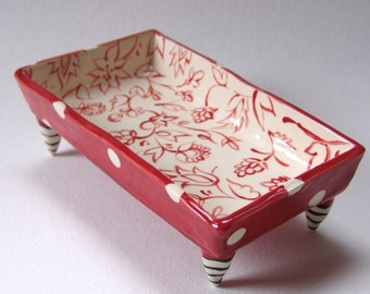 Floral pottery Dish :)  red & white polka dots with beetlejuice striped legs