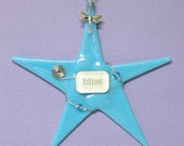 "Handmade Glass Ornament/ Dragonfly BLISS ""Wishing Star"" in Turquoise by Susan Faye"