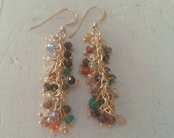 Multi Colored Stone Long Fringe Gold Filled Earrings