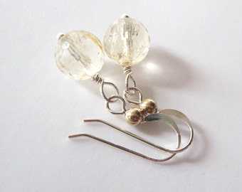 Citrine Gemstone Earrings, Light Champagne Color, Mixed Metal Earrings, Sterling Hooks Gold Bead Detail