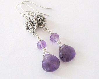 Amethyst Gemstone Dangle Earrings, Sterling Silver, Renaissance Antique Style, Victorian Style