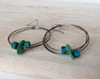 Sterling Silver Hoops Green Earrings Bohemian Jewelry Handcrafted in California Handmade Jewelry Green Aqua Ceramic Earrings