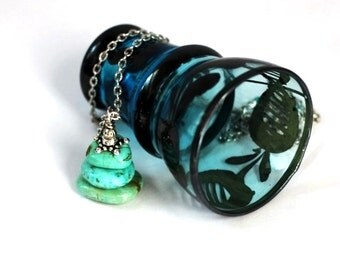 Magnesite Turquoise Necklace Cairn Stack Beads Wire Wrapped Repurposed Eco Friendly Jewelry by Hendywood