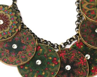 Pavlovsky Charm Necklace - Charm Necklace - Pavlovsky Print - Russian Print - Russian Jewelry - Charm - Rhinestone Jewelry - Shrink Plastic