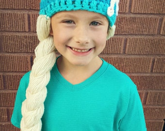 Elsa Inspired Crochet Hat from Frozen for Halloween or Christmas You pick size