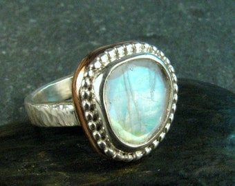 Rainbow Moonstone Statement Ring Sterling Silver and Bronze - Blue Faceted Moonstone Ring - June Birthstone Ring - Size 7