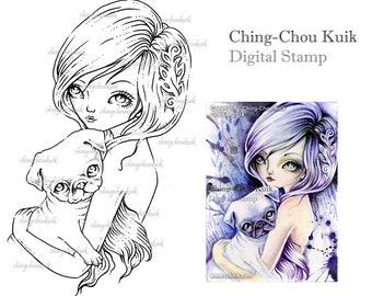 Pug Love - Digital Stamp Instant Download /Dog Puppy Fawn Pug Fairy Girl Fantasy Art by Ching-Chou Kuik