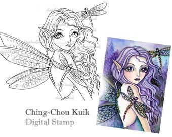 Purple Dragonfly - Digital Stamp Instant Download / Fantasy Art by Ching-Chou Kuik