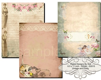 Instant Download - Vintage and Pretty Paper Pack  -  Printable Digital Collage Sheet - Digital Download