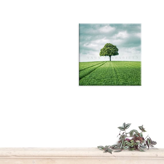 Canvas Gallery Wrap, Wall Art, Green decor, French countryside, Green field, Nature print, Spring photography, Tree print
