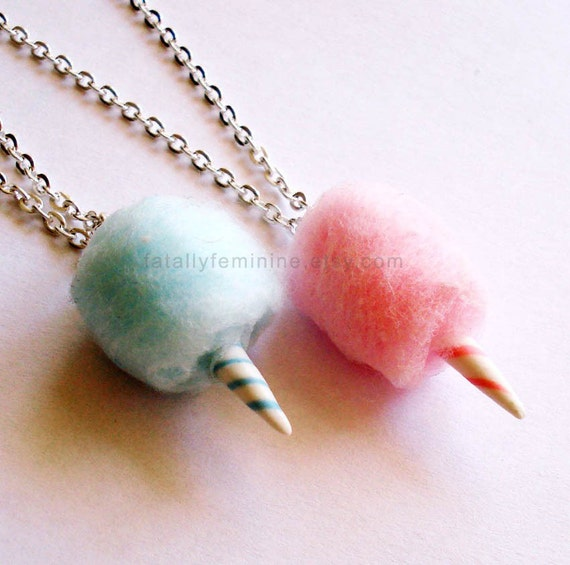 Carnival Cotton Candy Necklace, Fairy Floss Necklace, Cotton Candy Jewelry, Miniature Food Jewelry