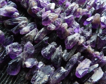 rough amethyst druzy beads, amethyst point beads, amethyst gemstone beads strand, by BrazilianGems