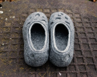 Natural gray wool slippers Moon Craters, Warm boiled wool slippers, Husband gift, Wool clogs, felt valenki, wool shoes, handmade slippers