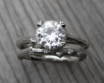 Moissanite Twig Engagement & Wedding Ring Set: 1ct Forever Brilliant ™ and Scattered Diamond Band