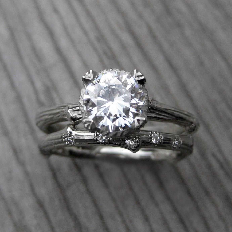 Moissanite Twig Engagement U0026 Wedding Ring Set By KristinCoffin