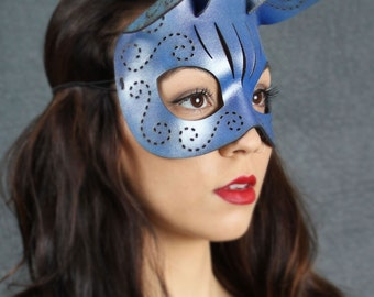 Tatted Kitty mask in blue and silver