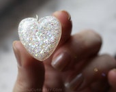 Jewelry, Diamond White, Glitter Resin Pendant, Optic White Resin Pendant Necklace, April Birthstone Resin Heart Handmade by isewcute