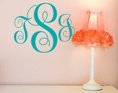 Custom college dorm decal decor, Three Initial Vinyl Wall Decal, Vine Letter Monogram Decal - Custom Wall Decal Monogram, Nursery Wall Decal