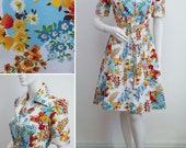 """Vintage Cotton Dress 70s Multi Retro Floral B36"""" Bright Belted Day Dress 1940s Style Spring Summer Size Small UK 10"""