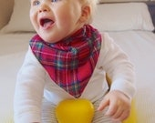 Bandana Baby Bib Scarf Red Stewart Royal Plaid