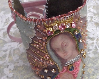 Lilygrace Virgin of Guadalupe Art Cuff  with Leather, Silk, Vintage Rhinestones and Delicia Beads