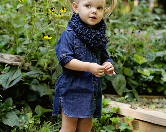 Blue Kids Scarf Girls Scarf Boys Scarf Kids Scarflette Girls Scarflette Boys Scarflette Denim Blue Navy Blue Button Cowl Denim Twist