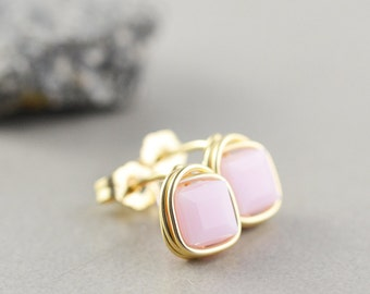 Pink Studs, Square Post Earrings, Soft Pink Posts, Cube Studs, Bridesmaid Gift