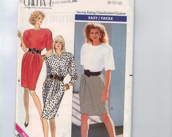 1980s Vintage Sewing Pattern Butterick 6281 Misses Easy Chetta B Dress Size 8 10 12 Bust 31 32 34  99