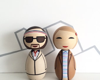 Kokeshi Doll set Margot and Richie Tenenbaum from The Royal Tenenbaums