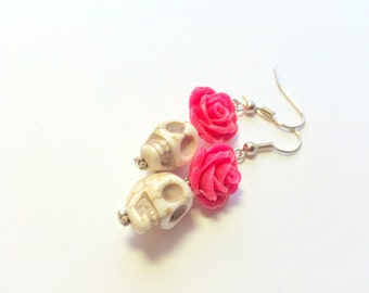 Pink and White Day of the Dead Roses and Sugar Skull Earrings
