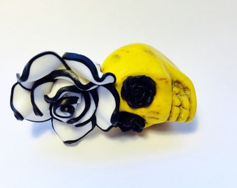 Gigantic Yellow Sugar Skull and Black White Rose Day of the Dead Pendant or Ornament