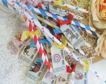 Vintage Carnival Circus Party Straws - Set of 18 - Choose Ribbons - Circus Birthday Vintage Style