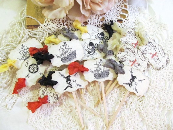 Pirate Cupcake Toppers Food Party Picks - Parchment - Set of 18 - Pirate Birthday Jolly Roger Skull