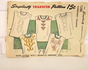 Vintage 40's Sewing Pattern, Dickey Pattern, Transfer and Vestee Embroidery Pattern, Rare