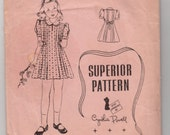 Vintage Sewing Pattern 1940's Superior 9796 Girl's Short Sleeve Dress Size 10 28 Bust
