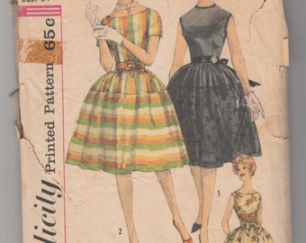 Vintage Sewing Pattern Simplicity 3914 Misses' Party Dress 1960's 34 Bust - With FREE Pattern Grading E-Book Included