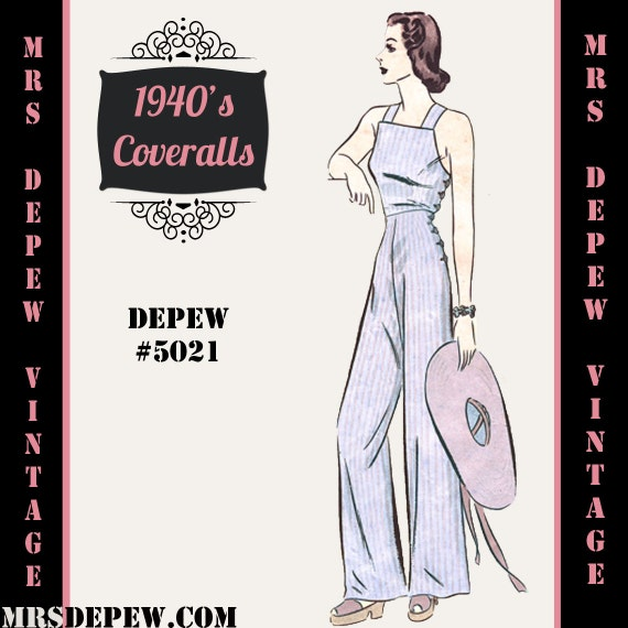 1940s Style Pants & Overalls- Wide Leg, High Waist 1940s Coverall Overalls in Any Size - PLUS Size Included - Depew 5021 -INSTANT DOWNLOAD- $8.50 AT vintagedancer.com