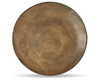 Ceramic dinner plates, ceramic plate set, pottery dinner plates, handmade plate, pottery dinnerware set, Brown Leather Matte plate