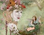 Fairy Art Print - Whimsical Fairy Art - Fairy Moon Art - Garden Fairies - Crescent Moon - Fairy Nursery Decor - Woodland Fairy Art - Fairies