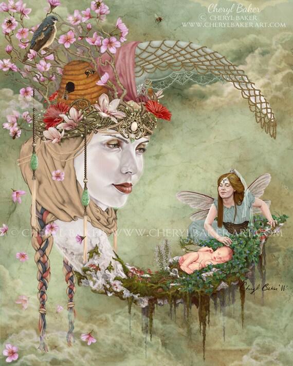fairy art print whimsical fairy art fairy moon by