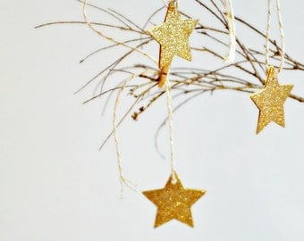 Gold Star Glitter Tags {10} | Gold Glitter Tags | Glitter Star Tags | Christmas Star Tags | Holiday Star Tags | Star Tags | Small Tags