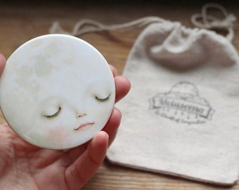 Sweet Moon - Pocket Mirror -  Smiling moon mirror, kids mirror, girl gift  by  Meluseena