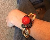 SALE Gold Chain Link Bracelet // Arm Candy // Rockabilly Jewelry // Punk Rock // Kitsch // Funky Original // Red and Black Beaded