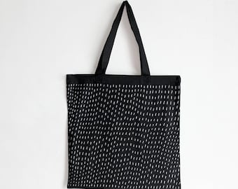 Black Cotton Book Tote - Rain